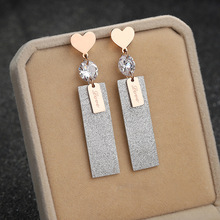 Fashion jewelry accessories, heart shape hanging polished zircon ear studs, titanium steel color jewelry, rose gold