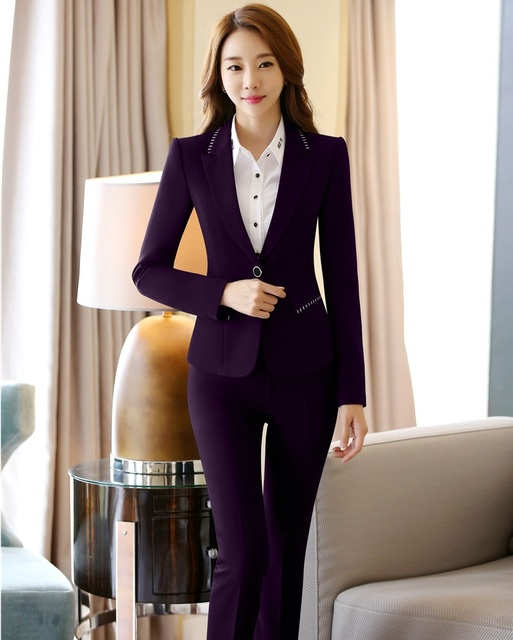 Uniform Designs Female Pantsuits Elegant Purple Blazers Women