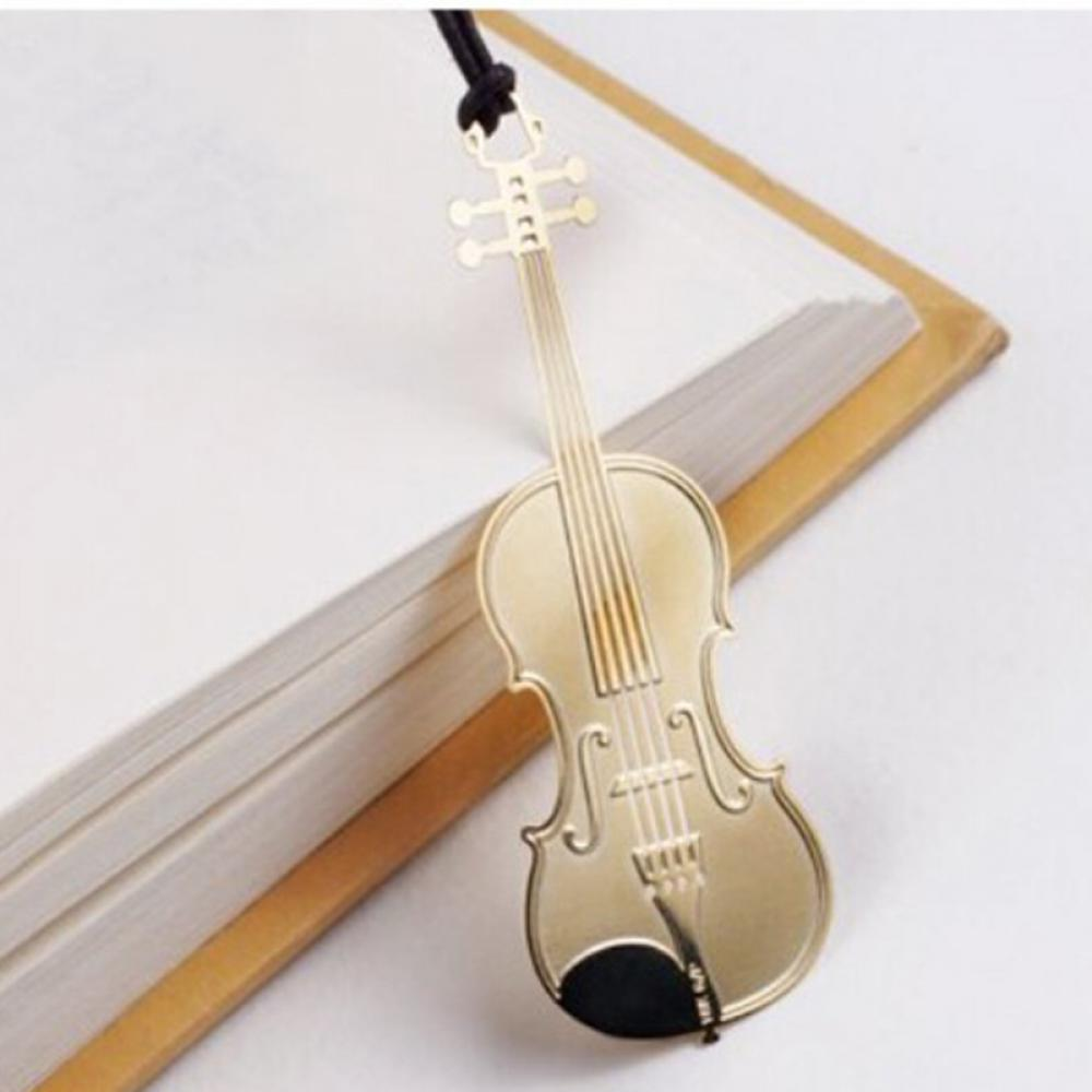 1 Pc Western Instrument Book Mark Vintage Metal Music Bookmark Trumpet Violin Stationery School Supplies Marcapaginas