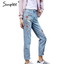 Simplee Flower embroidery jeans female Light blue casual pants capris 2016 autumn winter Pockets straight jeans women bottom