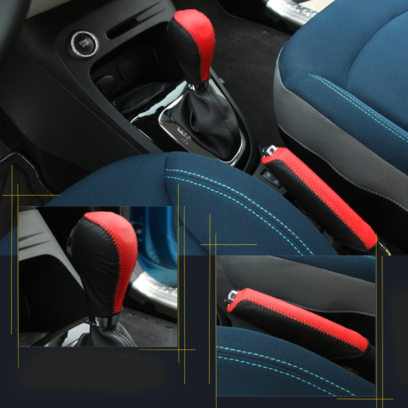 genuine leather car hand brake cover and gear cover car accessories for renault captur 2014 2015. Black Bedroom Furniture Sets. Home Design Ideas