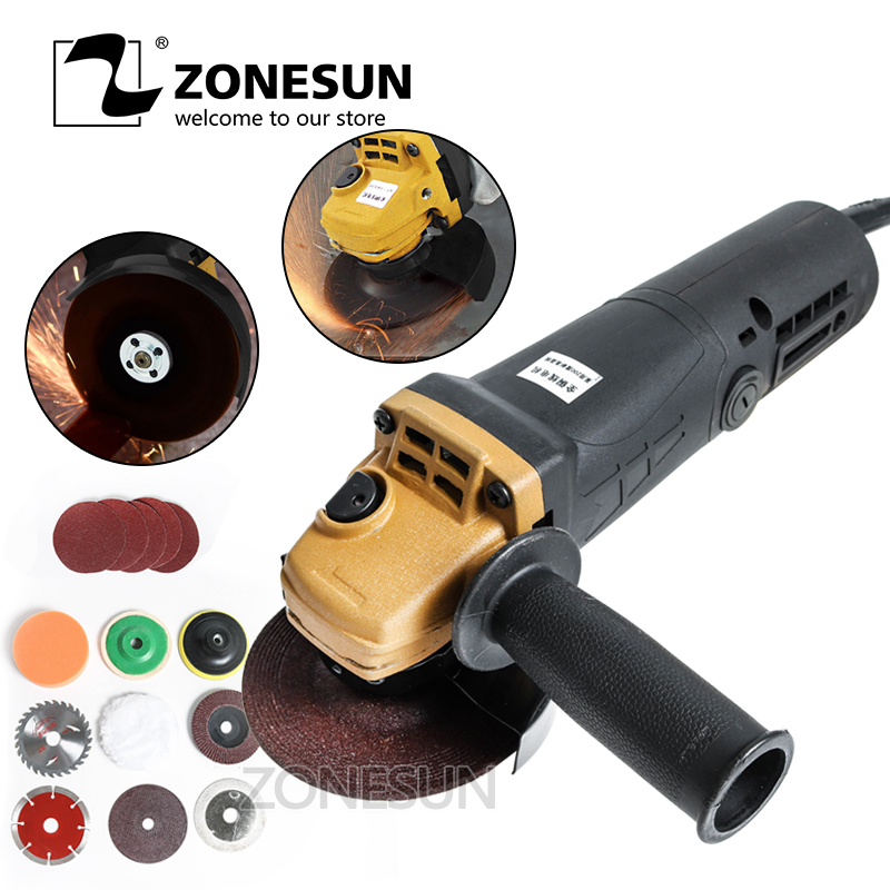 ZONESUN Angle Grinder 11500r/min Cutting Polishing Machine Hand Wheel Electric Concrete Angular Grinding Domestic Multifunction