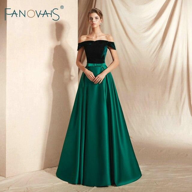 Green Velvet Evening Dresses Long Vestidos De Fiesta De Noche  Evening Dress Arabic Special Occasion Dresses Party Gowns