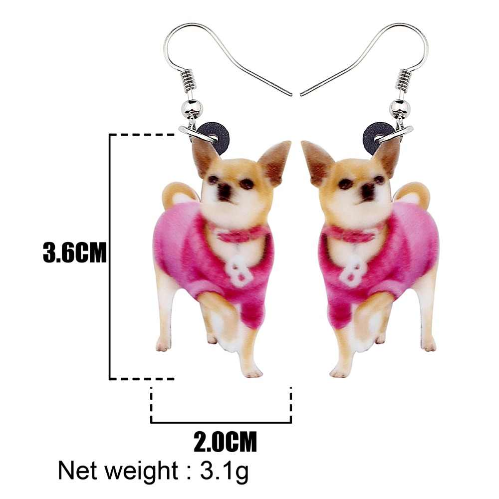 WEVENI Acrylic Sweet Collar Shiba Inu Dog Earrings Big Long Dangle Drop Women Girls Hot Female 2018 Animal Jewelry Charms Bijoux