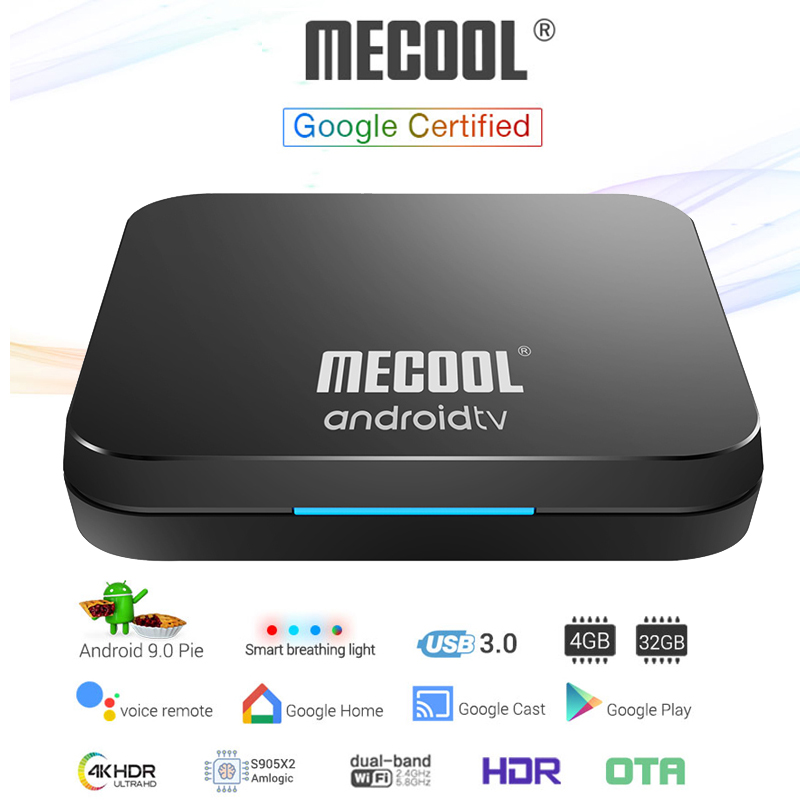 <font><b>Mecool</b></font> <font><b>KM9</b></font> Pro ATV Google Certified <font><b>Android</b></font> 9.0 pie <font><b>TV</b></font> <font><b>Box</b></font> Voice Remote Amlogic <font><b>S905X2</b></font> 4G LPDDR4 32G Bluetooth Dual Wifi TVbox image