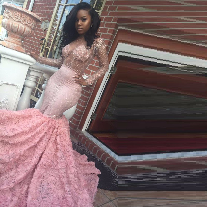 Robe de Soiree African Luxury Mermaid Pink Prom Dresses 2019 Sexy Sheer Lace Crystal Ruffled Train Long Evening Party Dress