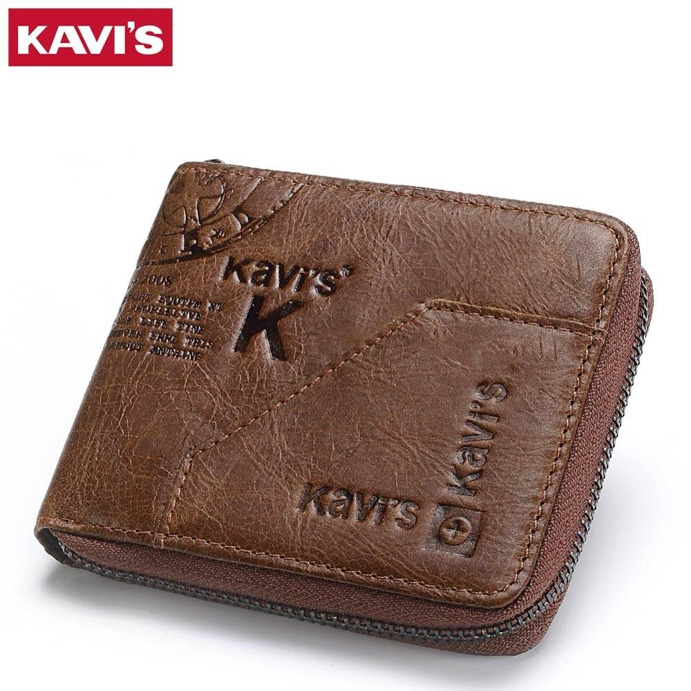KAVIS 100% carpeta del cuero genuino de los hombres monedero hombre Cuzdan pequeño Walet Portomonee Rfid Mini cartera Vallet Perse tarjeta
