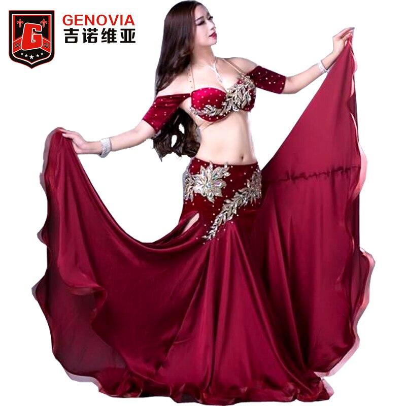 Для женщин профессиональный Belly Танцы костюмы дамы элегантность Oriental Танцы наряды живота Танцы бисера Топ Бюстгальтер длинная юбка костюм