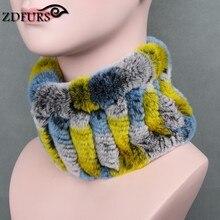 ZDFURS * Для женщин натуральным мехом ручной работы стрейч меховой шарф вязать Натуральная Кролика Рекс Мех Банданы для мужчин Обувь для девочек натуральный Мех кольцо Шарфы для женщин Зимние