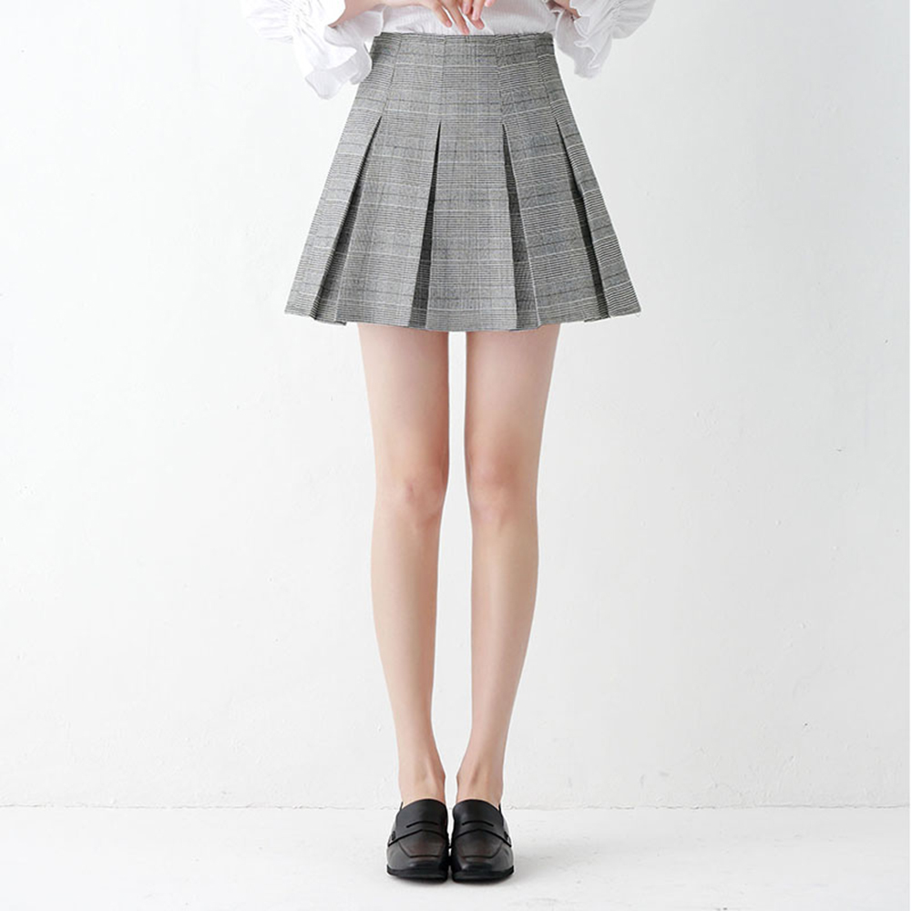 Plaid Pleated Waist High Skirt Mini a Line Summer Checkered Skirt Vintage Checkerboard Saia Feminina Kilt Womens Skirts 70Q501