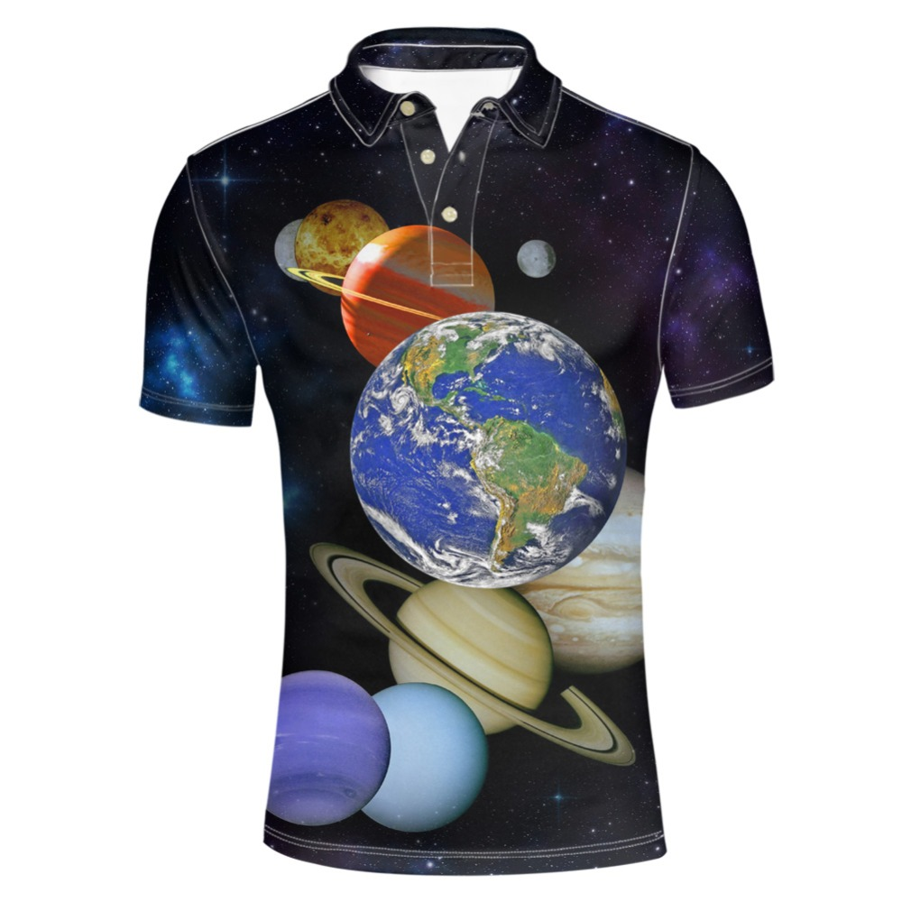 FORUDESIGNS Galaxy Star Collar Shirt Men Casual   Polo   Short Breathable Loose Fit Short Sleeve Tee Male Personalized Cothing Tops