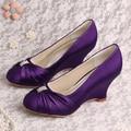 Venda quente Roxo de Cetim Nupcial Do Casamento Sapatos de Cunha Mulheres
