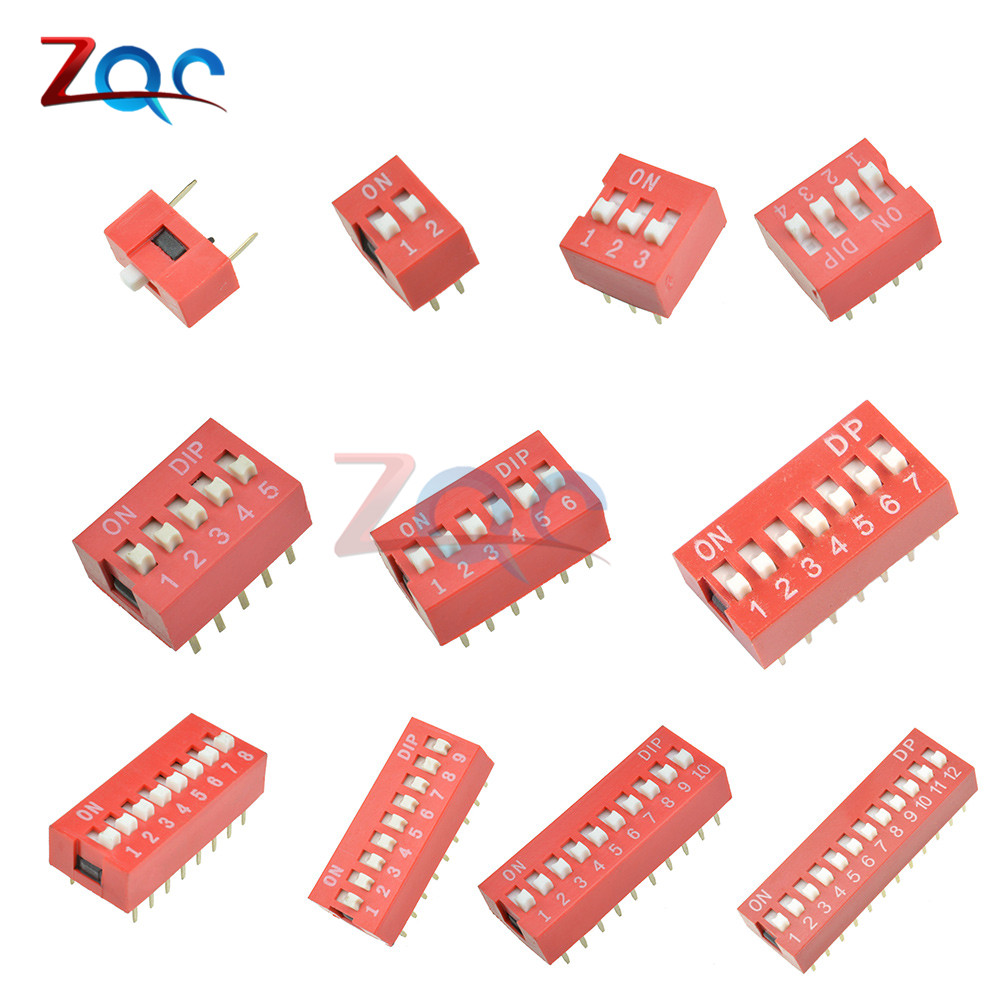 10Pcs Slide Type Switch Module 1 2 3 4 5 6 7 8 9 10 12 Bit 2.54mm Position Way DIP Red Pitch Toggle Switch Red Snap Switch цена