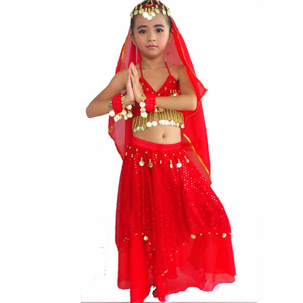2018 Nyankomande barn Indisk klänning gul / röd / blå / ros mage danskläder S / M magdans kostym gratis frakt
