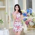 2016 New Summer cheongsam dress retro flower printing daily short sleeve dress traditional dresses CS16
