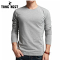 TANGNEST 2017 New Simple Design Men's Long-sleeve T-shirt Spring Autumn Solid Color Casual All-matched Tshirt Homme MTL756