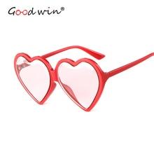 Good Win Clear Transparent Women Pink Sunglasses Luxury Brand Oversized Heart Shaped Sun Glasses Womens UV400 Yellow