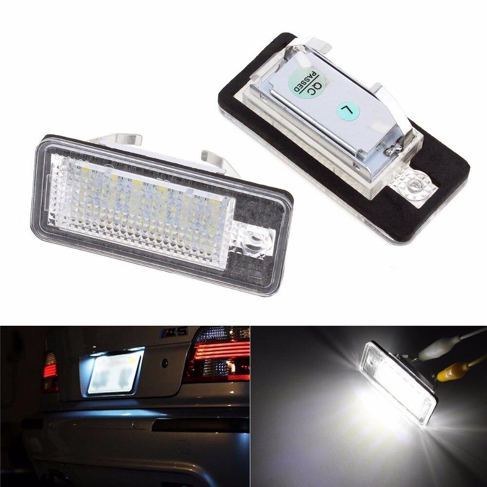 2pcs 12V 6000-6500K SMD3528 Car License Plate Light for Audi A6 C6 Q7 A4 B7 A4 B6 8E A3 S3 A8 S8 S6 RS4 RS6 smaart v 7 new license