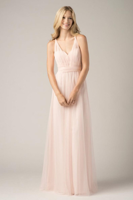 US $95.0 |Convertible Bridesmaid Dresses Blush Pink Custom Made Fashion A  Line Formal Plus Size Junior Bridesmaids Gowns Floor Length-in Bridesmaid  ...