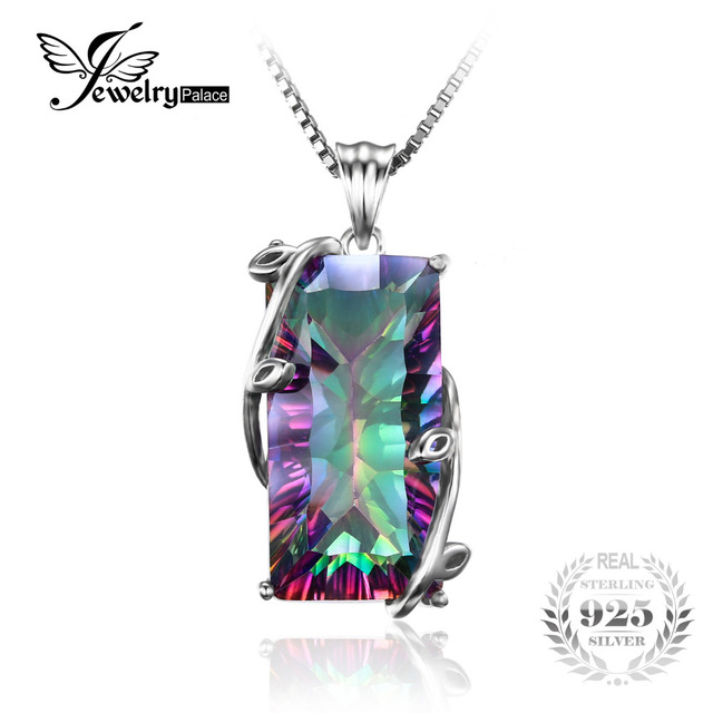 Huge 17.8ct Vintage Fashion Genuine Natural Fire Rainbow Mystic Topaz Necklaces Pendant Solid 925 Sterling Silver Set For Women