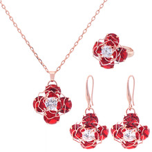2017 Hottest Gold Plated Flower Pendant Red Black Blue Pendant Necklace Earring Ring Jewelry Set Party Weeding Bridal Jewellery milky blue earring and pendant necklace flower shape pendant necklace jewerly set for women gift