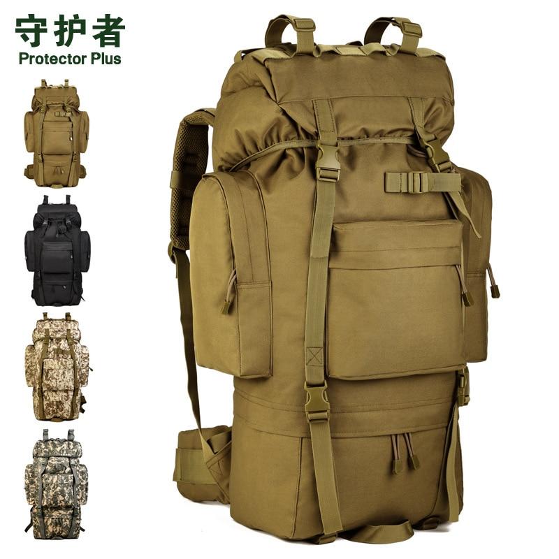 Protetor mais acampamento ao ar livre tático mochila à prova dwaterproof água saco de viagem mochila bagagem grande cinto sapato armazém 65l