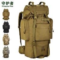 Протектор Плюс Открытый Кемпинг тактический рюкзак водонепроницаемый мешок путешествия рюкзак камера большой рюкзак ремень обуви склад 65L