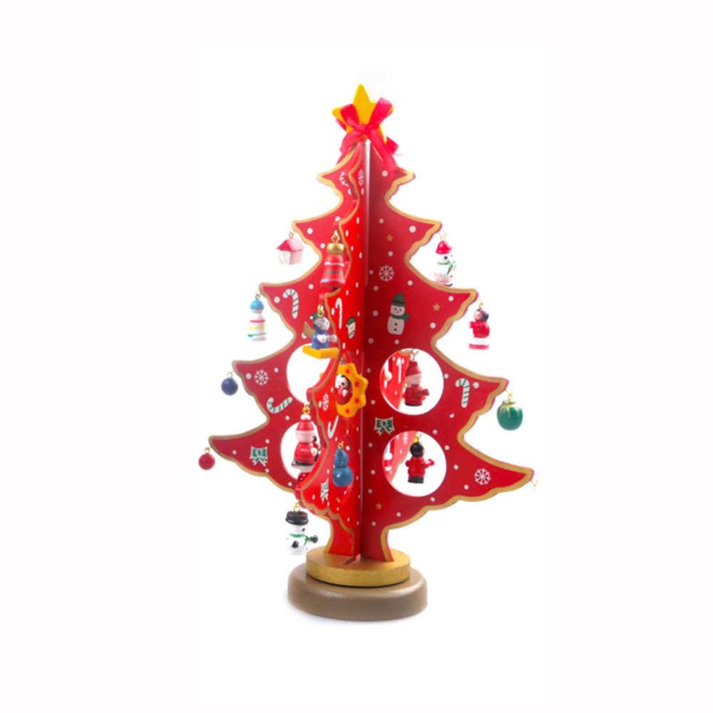 Us 11 83 26 Off 1pcs Diy Wooden Christmas Tree Tabletop Christmas Tree With Miniature Christmas Ornaments For Home Christmas Xmas Decoration In