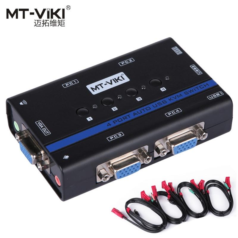 MT-VIKI 4 Port Auto VGA USB KVM Switch Hotkey PC Selector KVMA 1 KM Combo Control 4 Hosts With Audio Mic Original Cable MT-461KL
