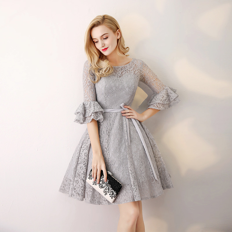Gray 3/4 Long Sleeve Lace Short Bridesmaid Dress