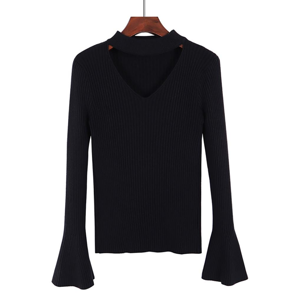 Leisure Thick V-neck Trumpet Sleeve Sweater Bottoming Shirt Long-Sleeved Autumn And Winter All-Matched Slim Sweater For Women