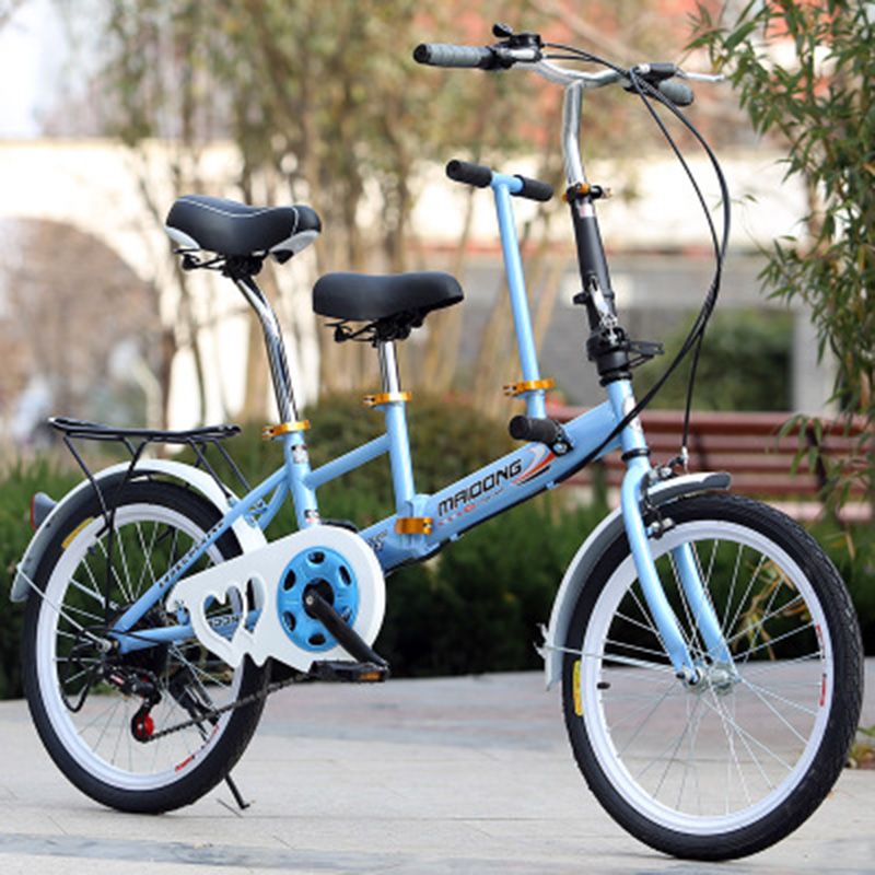 A 20-Inch Parent-Child Bicycle Will Carry A Child's Bicycle With A Double Folding Speed Change Bicycle.