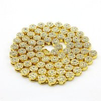 Gold Palted Bling Bling Hip Hop Jewelry 1 Row Round Iced Out Cz Chain Tennis Ball