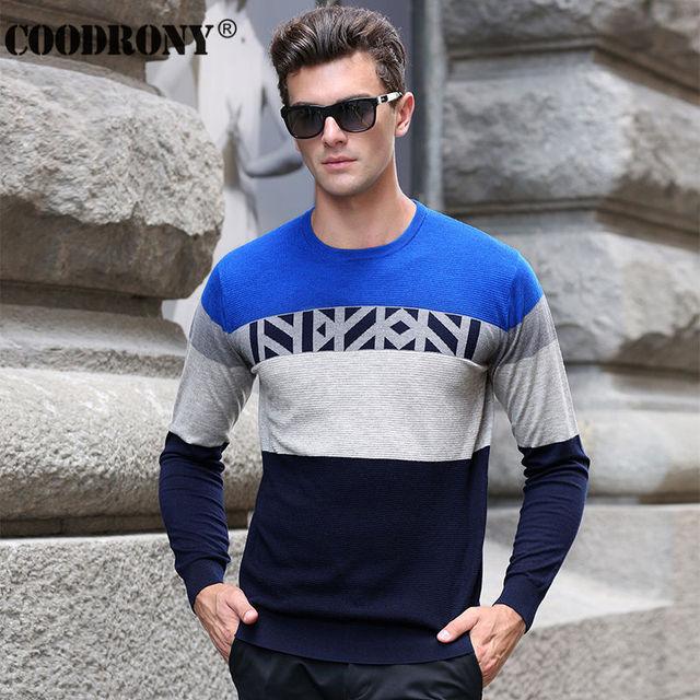 Frete Grátis Outono Inverno Homens Suéter de Cashmere Roupas de Marca Camisola De Malha De Lã Listrado Moda O-pescoço Camisa Pullover 66216