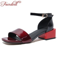 FACNDINLL fashion cow leather summer shoes woman gladiator sandals square med heel black white open toe woman dress party shoes