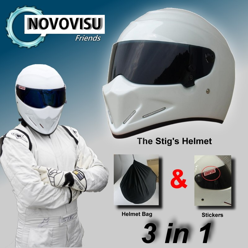 цена на For NOVOVISU The STIG Helmet + Bag + SIMPSON Sticker 3 in 1 / White Helmet Capacete Casco De with Black Visor Top Gear Shop