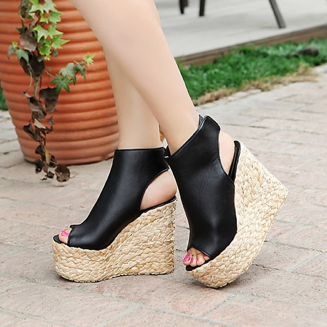 d0d3f00f8f84e 2017 Bohemia Plaited Straw Wedges Ankle Wrap Cutouts Sandals High Heels Platform  Sandals Summer sandals women shoes size34-43