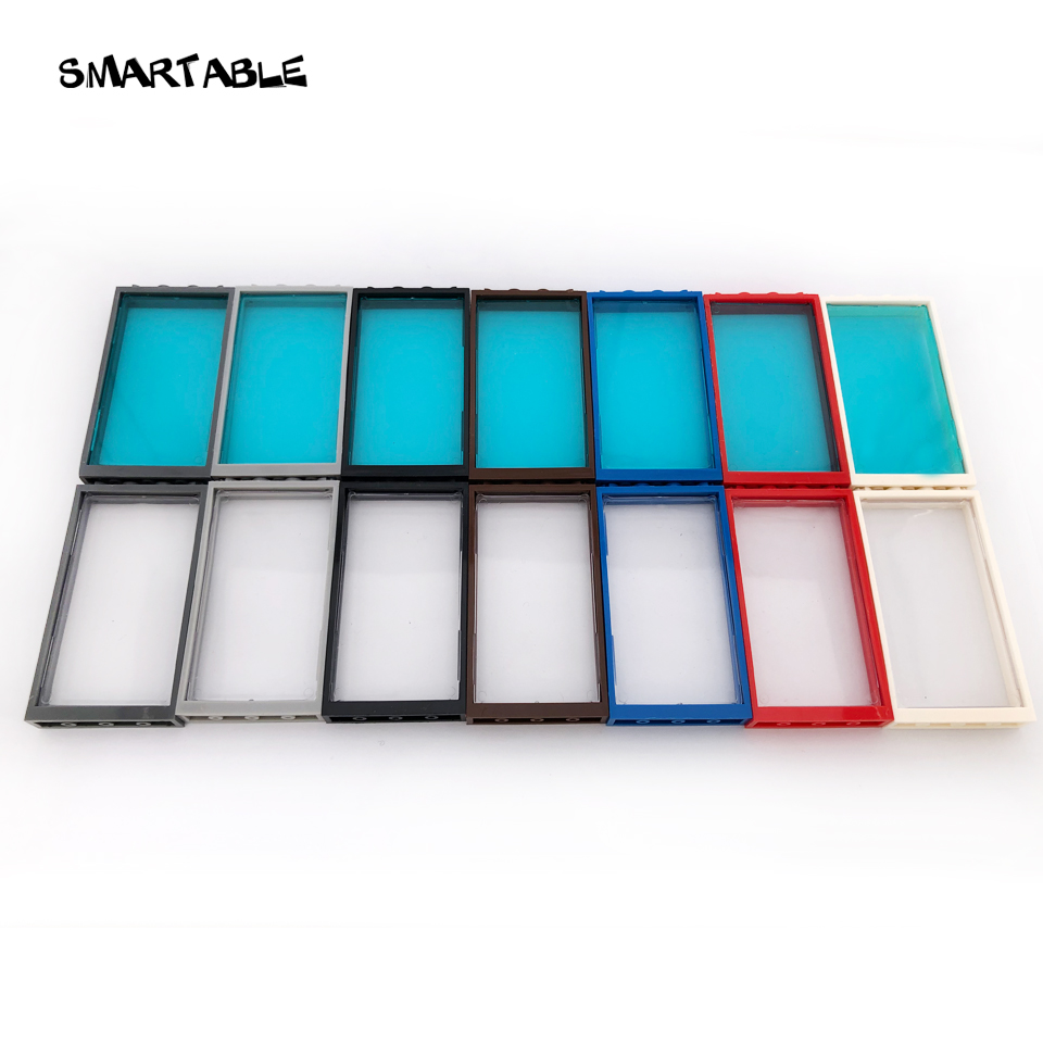 Smartable Window Door Frame 1x4x6 Building Blocks MOC Parts With Glass Toys For Kids House Compatible All Brands City 20pcs/lot