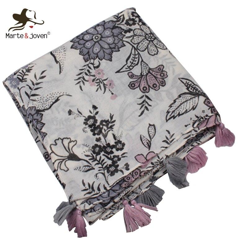 Marte&Joven Vintage Floral Printed Soft Beige   Scarf   for Women Elegant Ethnic Flower Pattern Long Shawls   Wraps   Ladies Warm Hijab