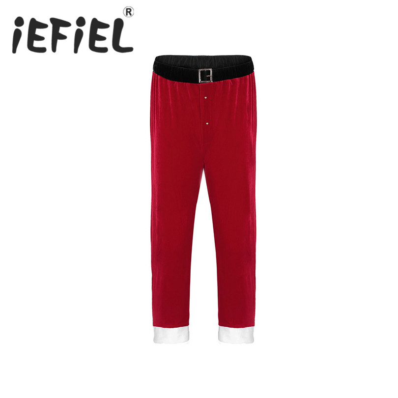 iEFiEL Mens Unisex Adults Red Soft Velvet Christmas Santa Claus Long Pants Cosplay Costume Loose Trousers Halloween Xmas Pants