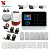 YoBang Security Russian French Spanish Dutch APP Control Touch Screen GPRS WIFI GSM Home Security Alarm System with IP Camera