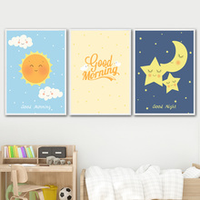 Sun Moon Star Cloud Good Morning Nordic Posters and Prints Wall Art Canvas Painting Nursery Wall Pictures Baby Kids Room Decor wall art canvas paintings good morning good night bedroom prints black white pictures poster gift kids room decorative