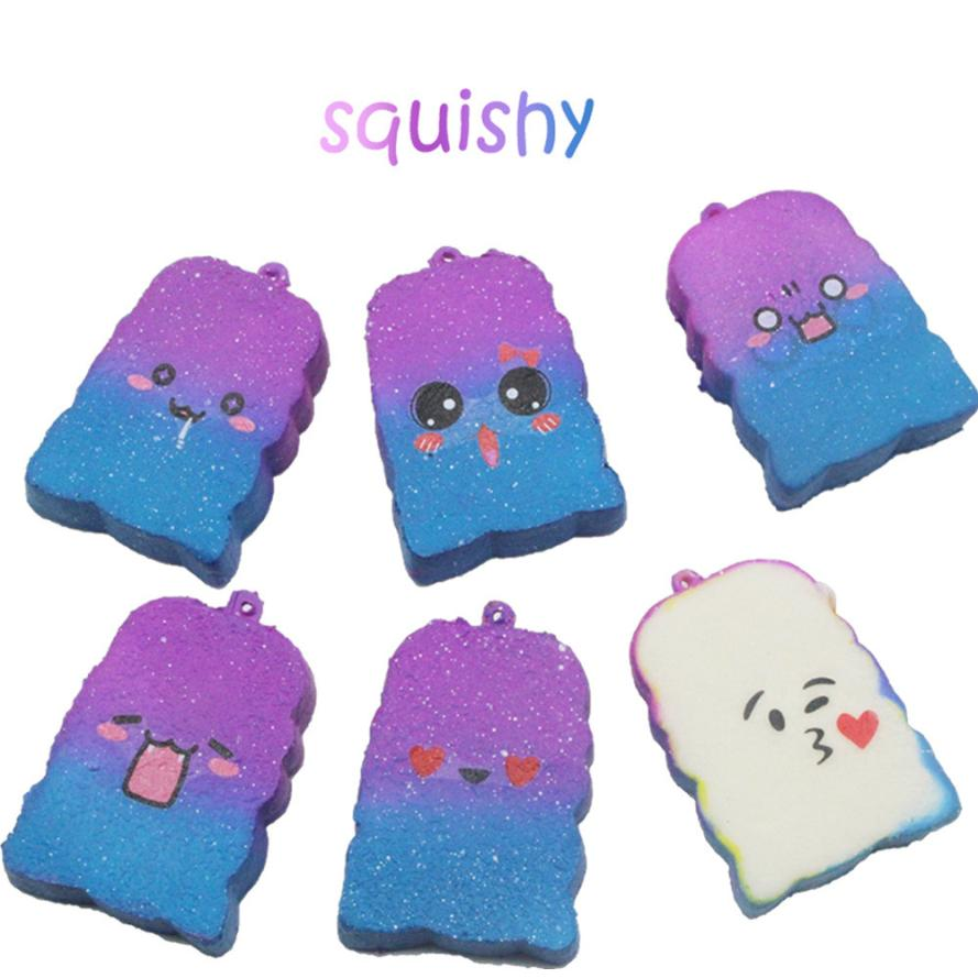 Squishy Galaxy Toast Slow Rising Cartoon Cream Scented Stress Relief Toys Phone Charm Kawaii Kids Adult Toy Stress Reliever Deco