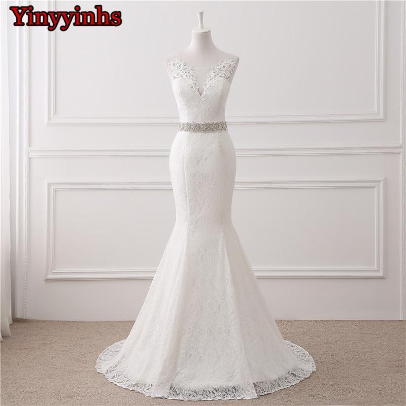 In Stock Wedding Dresses 2019 Vestidos De Novia Sheer Sweep Train Lace Applique Cheap Wedding Bridal Gowns Customer Made Size