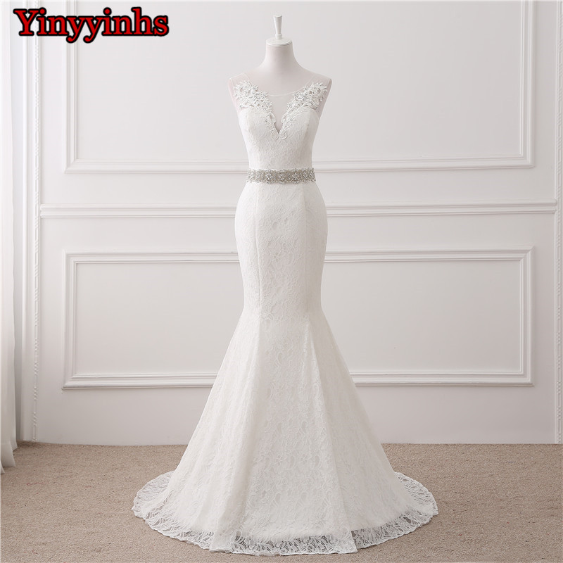 In Stock Wedding Dresses 2020 Vestidos De Novia Sheer Sweep Train Lace Applique Cheap Wedding Bridal Gowns Customer Made Size