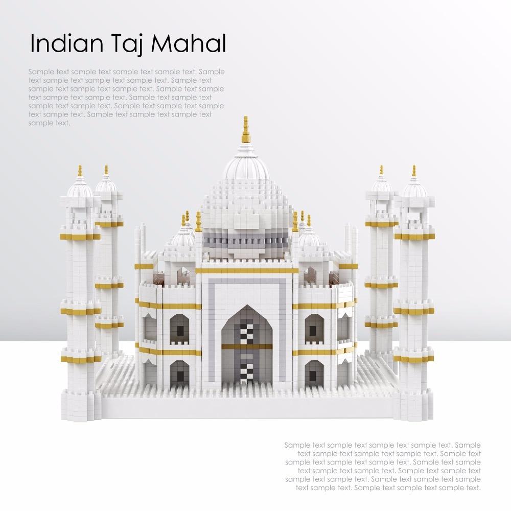 Mini Architecture Taj Mahal Block Set India Castle model Building Bricks educational toys for children