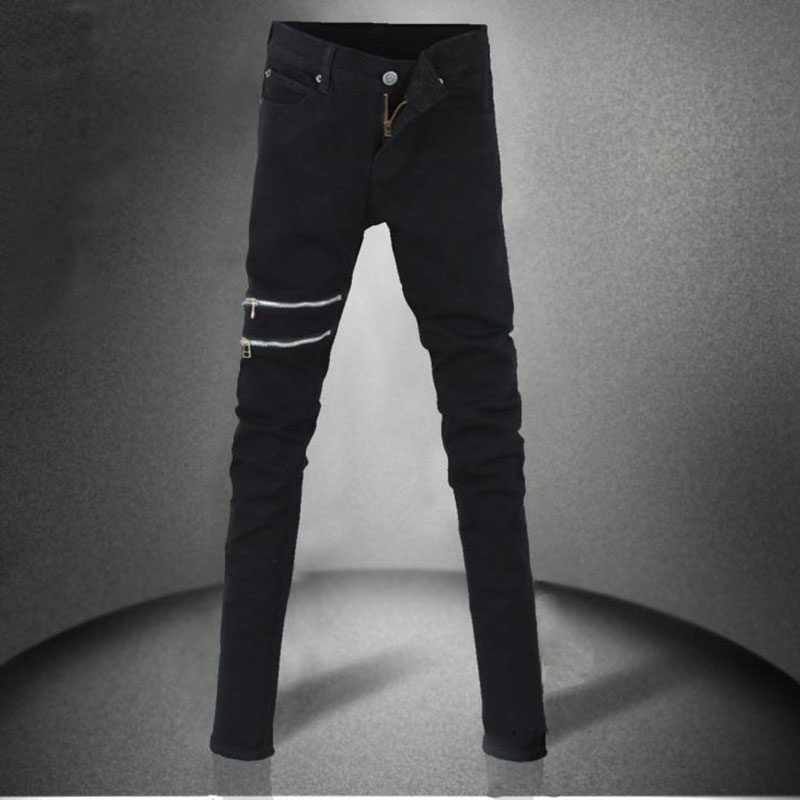 New Arrival Men`s Black Super Skinny Jeans Little Stretchy Elastic Slim Fit Pencil Pants With Zipper For Male autumn new arrival 2017 jeans pants afs jeep elastic mens straight men black mid risef slim fit men s casual fashion men s jeans