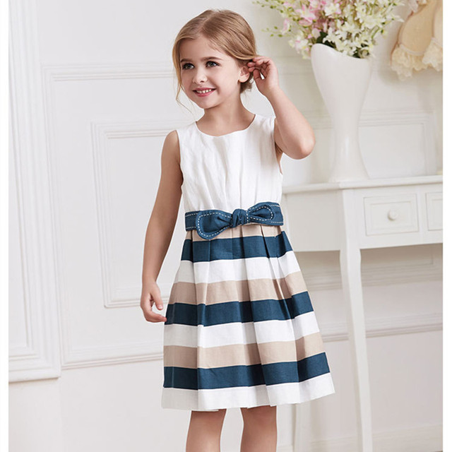 Little Girl Summer Dress 2016 Baby Girls Clothes Kids Party Dresses Casual  Sleeveless Stripes Princess Dress 2-8 Yrs Robe Fille 0137f7011cae