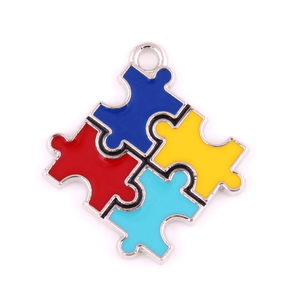 10 Pcs A Lot Autism Awareness Pendants With Holes Puzzle Piece