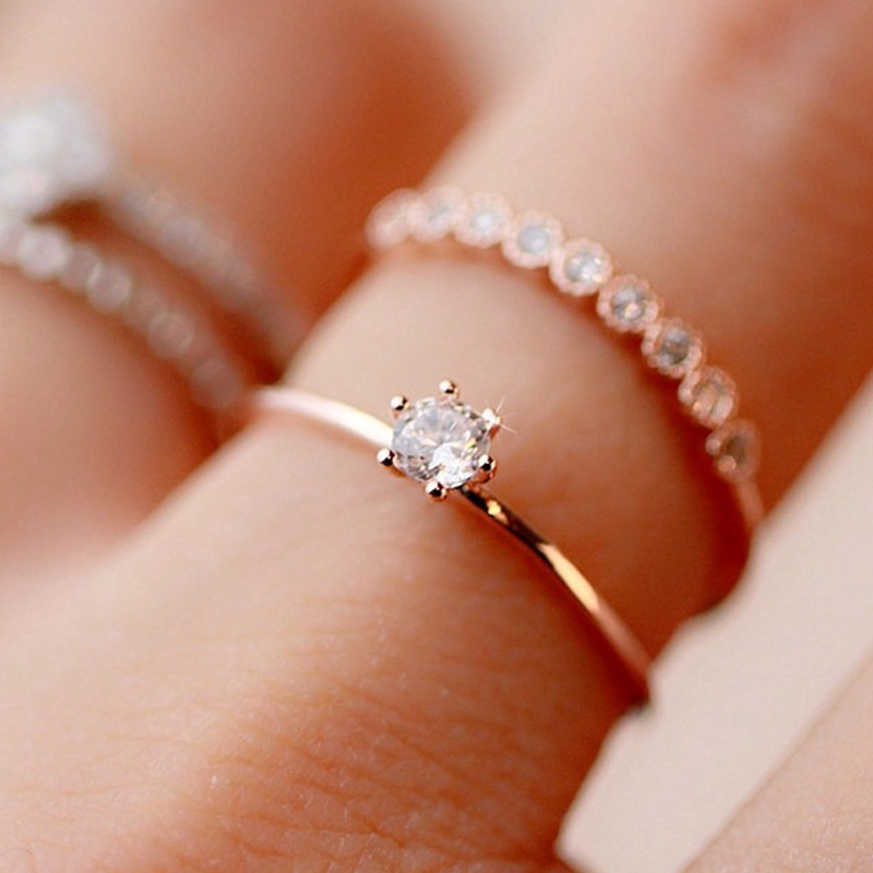 Fashion jewelry 2016 New gold filled CZ zircon finger Double open ring wedding gift for women ladies wholesale